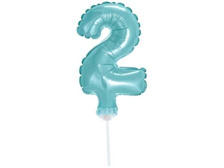 """Balon foliowy 13 cm na patyczku """"Cyfra 2"""", błękitna BC-5BL2"""