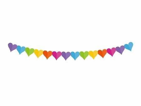 Girlanda papierowa Kolorowe serduszka, 360x17.1x18cm PF-GPKS