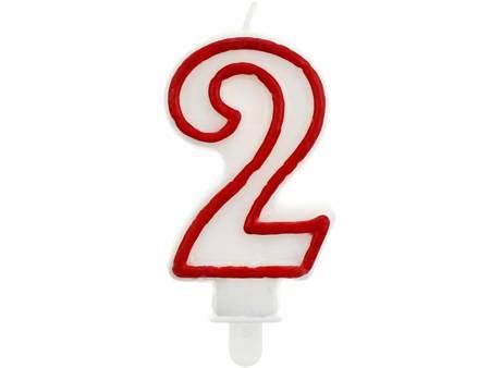 """Świeczka cyferka """"2"""", czerwony kontur 7 cm PF-SCC/2"""
