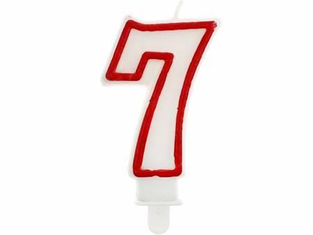 """Świeczka cyferka """"7"""", czerwony kontur 7 cm PF-SCC/7"""