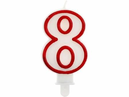 """Świeczka cyferka """"8"""", czerwony kontur 7 cm PF-SCC/8"""